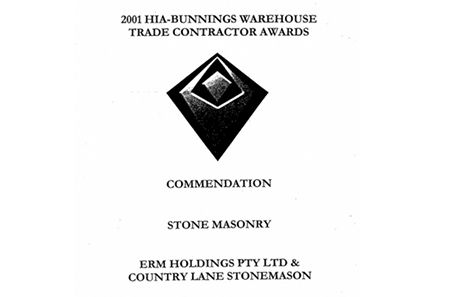 2001 HIA-BUNNINGS WAREHOUSE TRADE CONTRACTOR AWARDS